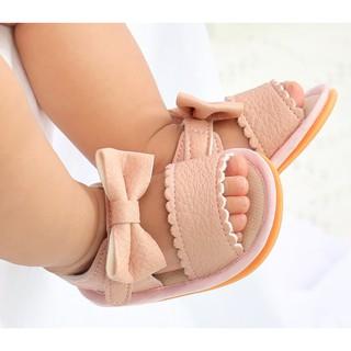 Giày sandal tập đi cao cấp cực chất đế cao su chống trơn trượt chất da mềm mại đính nơ dễ thương cho bé gái.Loại 1 7