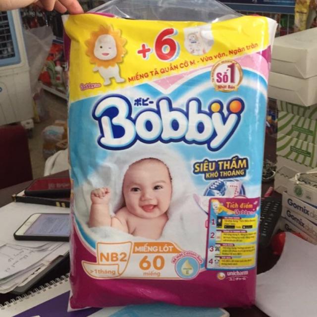 [Tặng 6 miếng tã quần] Miếng Lót Newborn 2 Bobby 60 Miếng