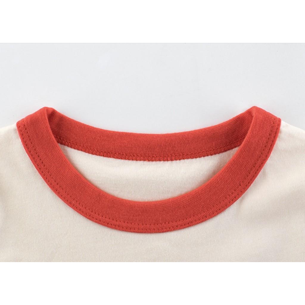 Áo thun cho bé gái 27Home tay ghép chú chó siêu dễ thương chất liệu cotton an toàn cho bé hàng chuẩn xuất Âu Mỹ