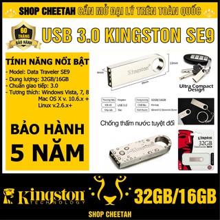 USB 3.0 Kingston 32GB/16GB DataTraveler SE9 – Vỏ thép nguyên khối – Chịu va đập – Kháng nước – CHÍNH HÃNG – BH 5 năm