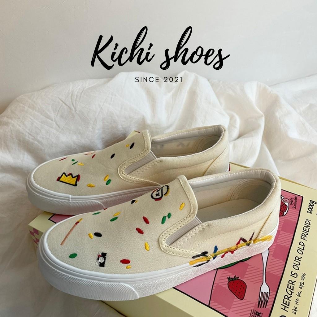Giày lười slip on hoạ tiết thêu nhí phong cách Ulzzang dành cho nữ mã 1116 - Kichi Shoes