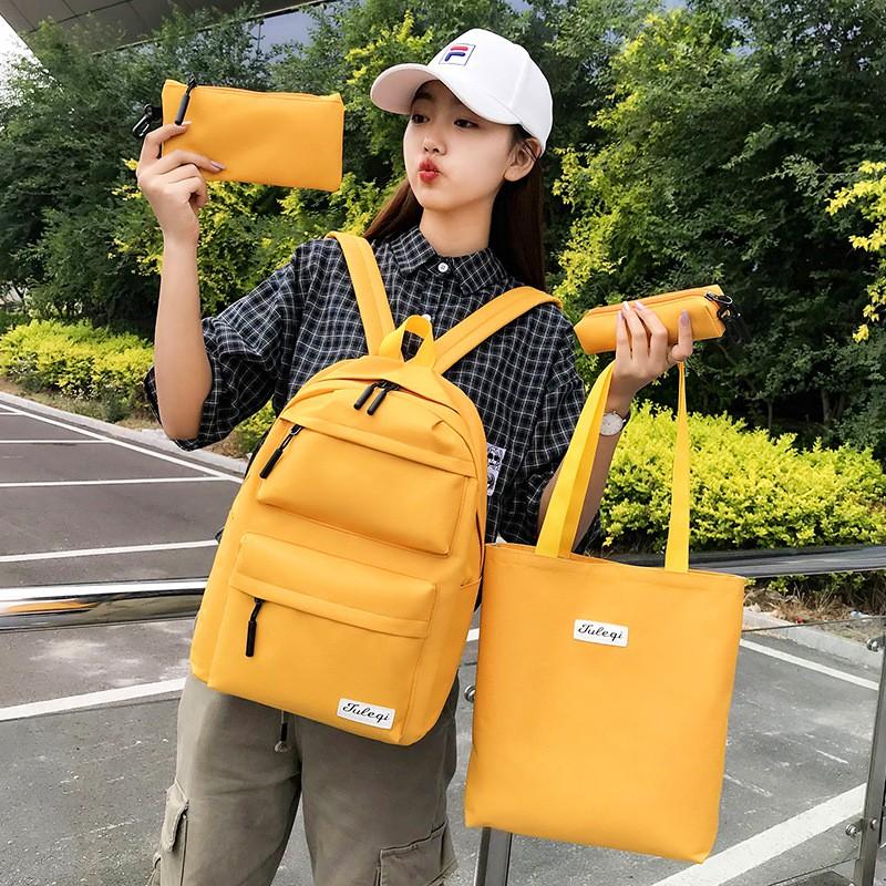 [Combo 4 món] Bộ balo vải dù kiểu dáng Hàn Quốc cho sinh viên học sinh - phù hợp đi học, đựng laptop, đi chơi, du lịch