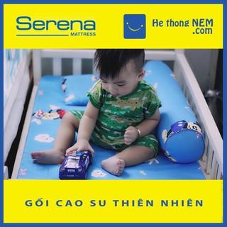 Bộ gối đệm nệm nằm ngủ cao su non cho bé sơ sinh SERENA cao cấp 4 MÓN, đệm nệm ngủ cho bé sơ sinh đi học - Hệ Thống Nệm