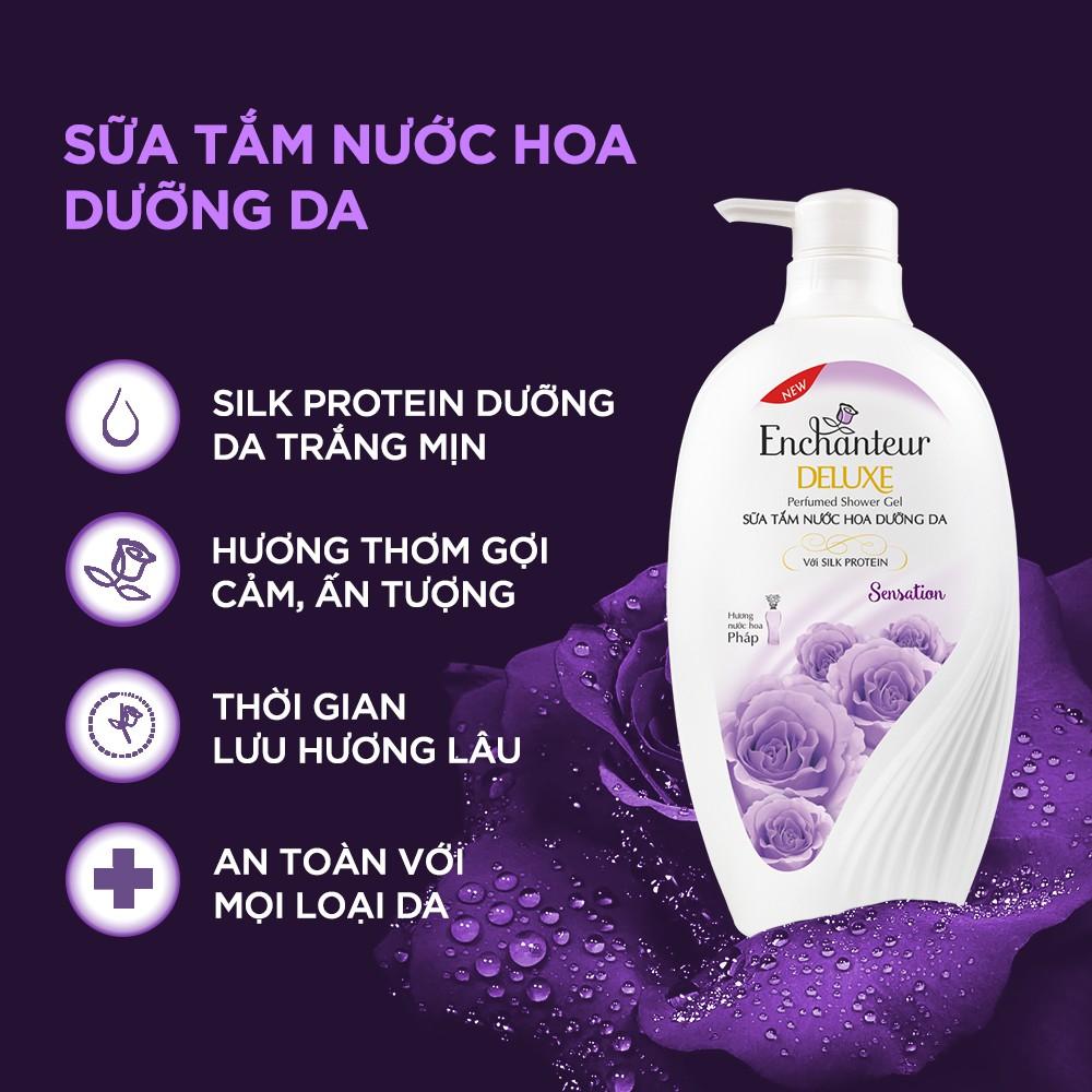 [Nhập COSWI giảm 10% đơn 199k] Combo 2 Sữa tắm hương nước hoa Enchanteur Sensation 650gr/ Chai