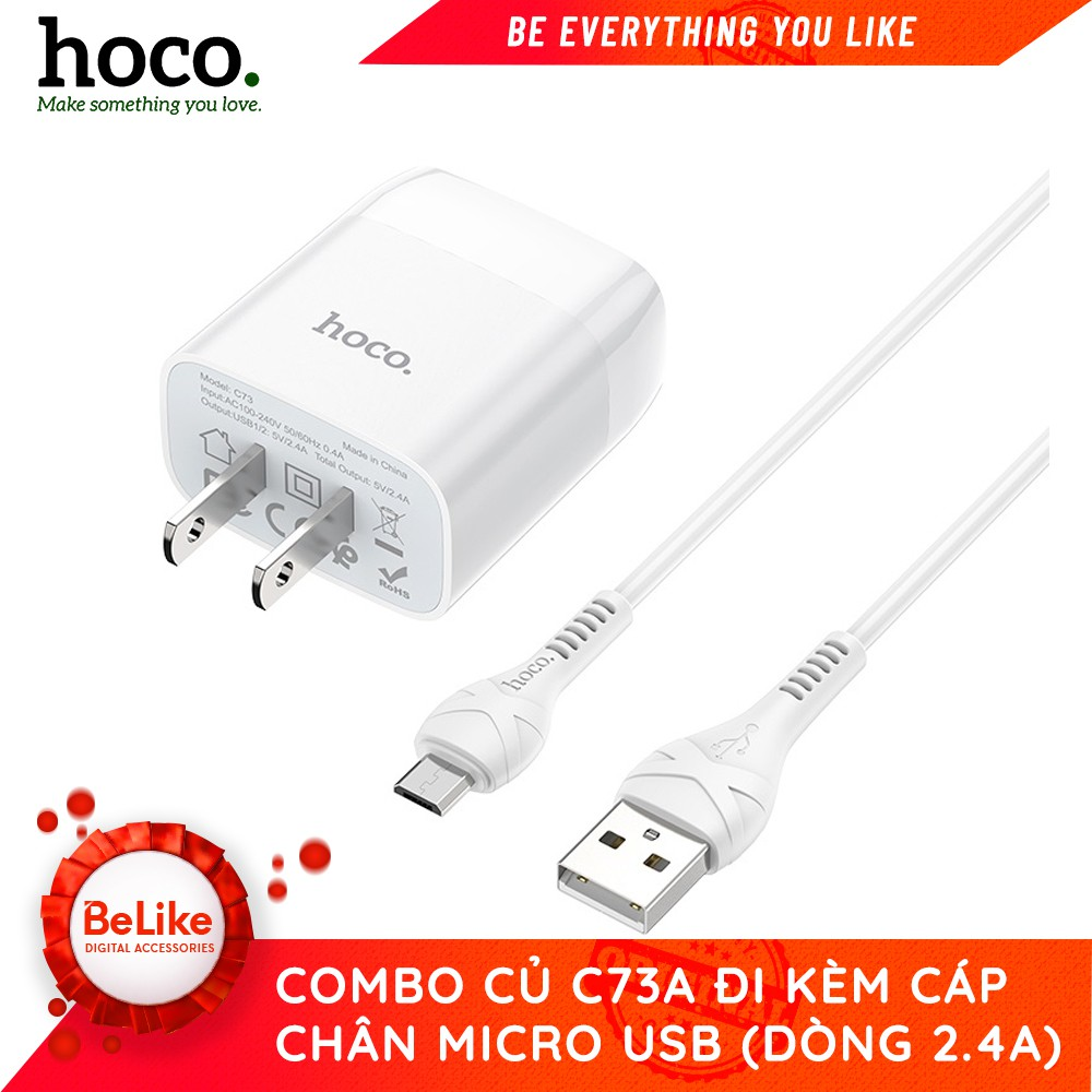 Bộ sạc Hoco C73 kèm dây Micro USB X37 - Hàng Chính Hãng