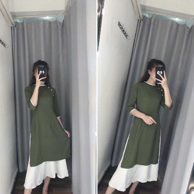 1759924965 - Set áo dài trơn kèm chân váy trắng 150K