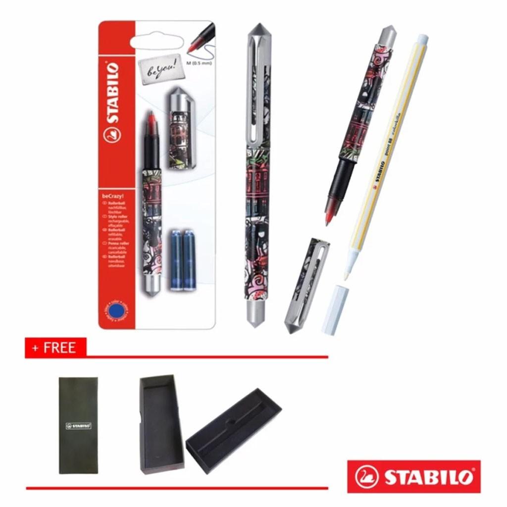 Combo STABILO : Vỉ bút bi nước STABILO beCrazy Medium 0.7mm (hình hươu cao cổ) + Viết xóa PT88ERK +