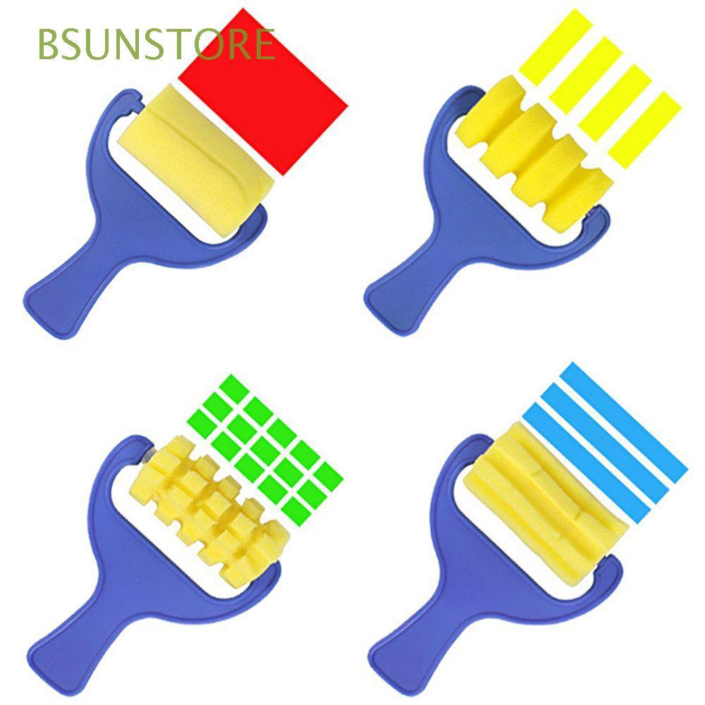 4PC 1 SET Creative Educational Kids DIY Plastic Handle Children Painting Brush