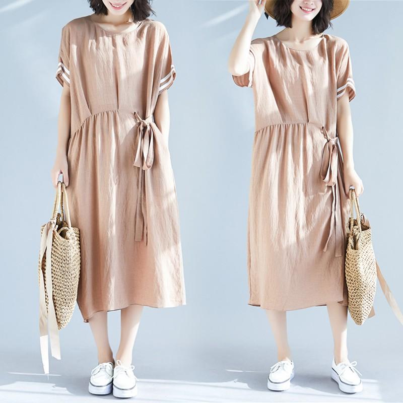 đầm nữ ngắn tay cổ tròn form dài rộng thời trang