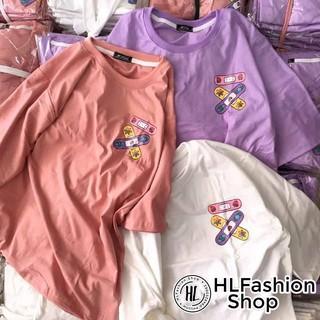 Áo thun tay lỡ form rộng hình băng cá nhân siêu dễ thương đáng yêu, áo phông in HLFashion thumbnail