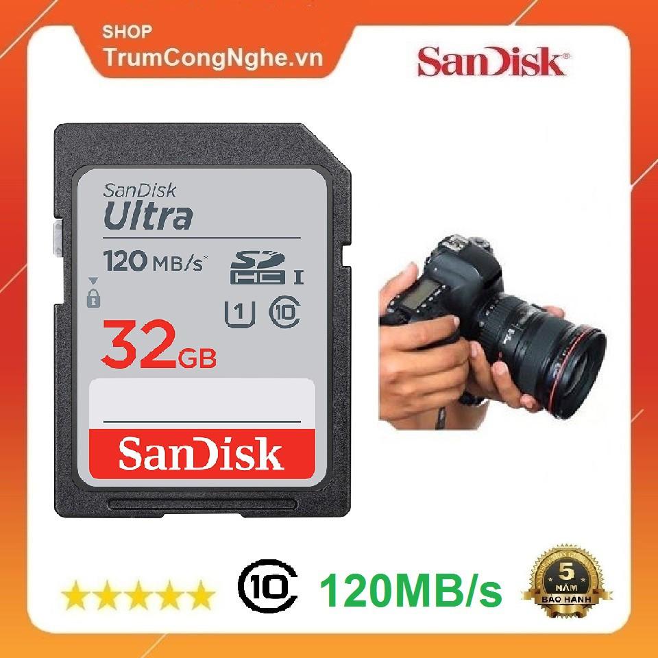 [Mã ELFLASH5 giảm 20K đơn 50K] Thẻ nhớ Máy Ảnh SDHC 32GB Sandisk Ultra Class10 UHS-I 120MB/s giá rẻ