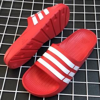 Dép nam đúc nguyên khối chất siêu nhẹ màu đỏ kẻ trắng, sản xuất tại xưởng giày dép nguyễn được giá rẻ vô địch