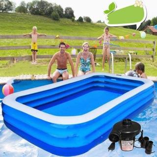 Bể bơi hình chữ nhật kích thước 269cm×185cm×60,cm kèm 2 miếng vá , 1 lọ keo loại mới 2020( tặng bơm điện 126k)