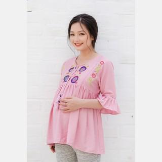 Áo bầu cổ xẻ thêu hoa tay bèo phối ren hồng ruốc Emum thumbnail