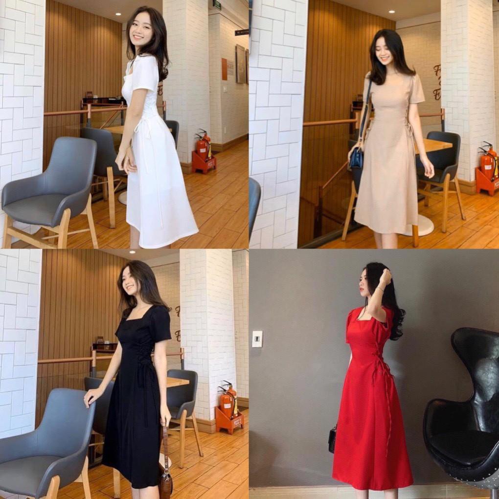 Đầm dài 2 lớp cổ vuông đan dây - Alita Dress