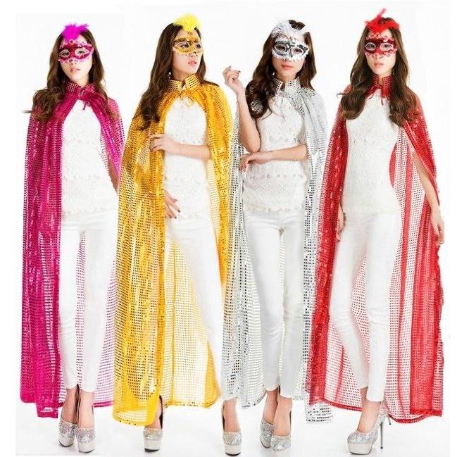 Four Colors Cape Halloween Party Ball Sequined Fancy Dress Party Cloak Women Cos