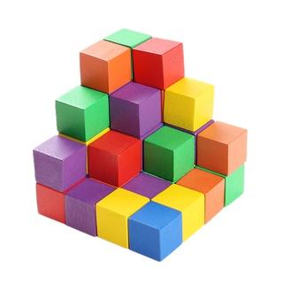 Bộ khối gỗ vuông xếp hình khối sơn 5 màu kích thước 2.5 cm - 3.5 cm thumbnail