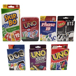 BTS UNO Wild Skip Bo Phase 10 DOS Metal Case UNO Flip Card Board Game Party Christmas Gift for Children Boys Girls Toys