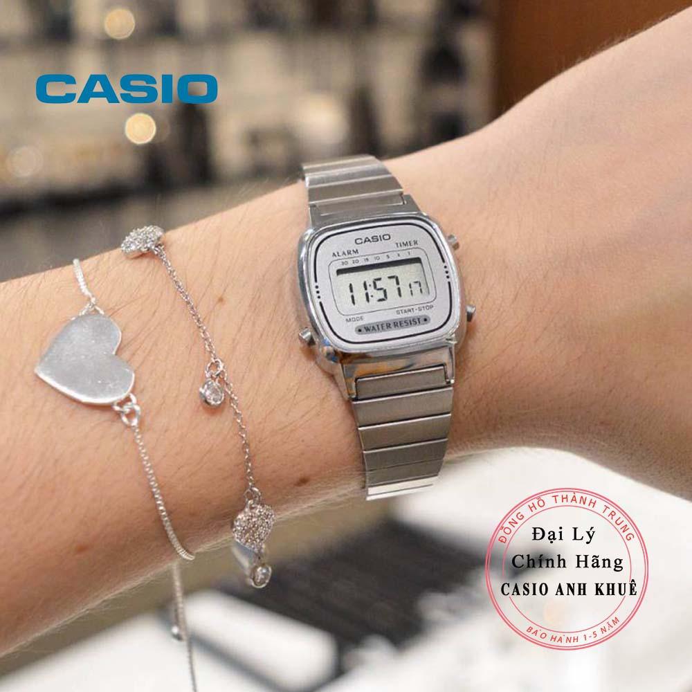 Đồng hồ điện tử nữ Casio LA670WA-7DF dây kim loại