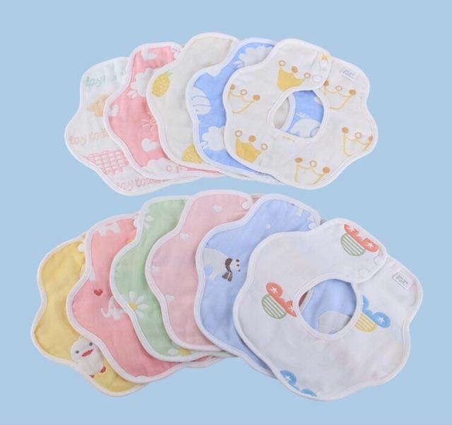 Yếm xô 6 lớp 100% cotton hoạ tiết dễ thương cho bé