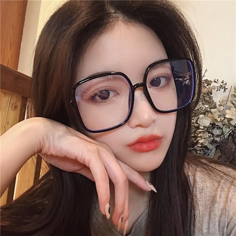 Big frame vintage trend radiation protection eyeglasses  Without makeup glasses for girls