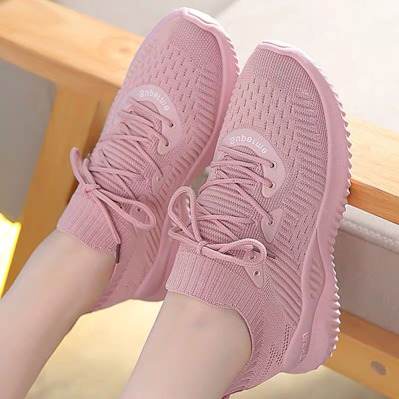 Giày sneaker nữ cổ chun cao cấp,Vải dệt thoáng khí,Đế cao su cao 4cm bền đẹp_4 màu hồng, trắng -shoponolinehanoi