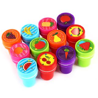12PCS Small Fruit Seal Stamper Children's Toy with Color Gift Box