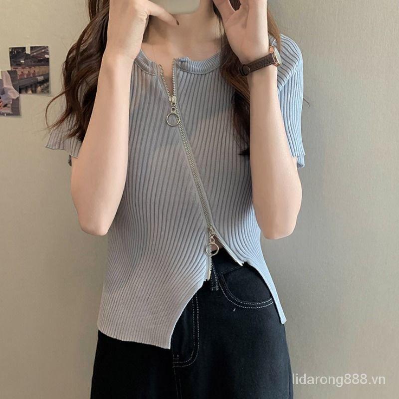 FamousChicTop2021New Short Summer Midriff-Baring Short Sleeve Women's Fashionable Design Niche Knitted Cardigan z13P