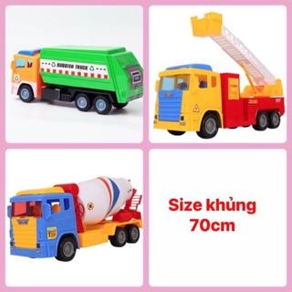 [Nhiều mẫu] Xe đồ chơi bánh trớn size khủng cho bé (xe cẩu, xe bêtong, xe rác)