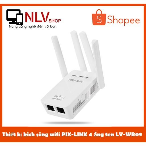 [Freeship] Thiết bị kích sóng wifi PIX-LINK 4 ăng ten LV-WR09 BH 12 Tháng