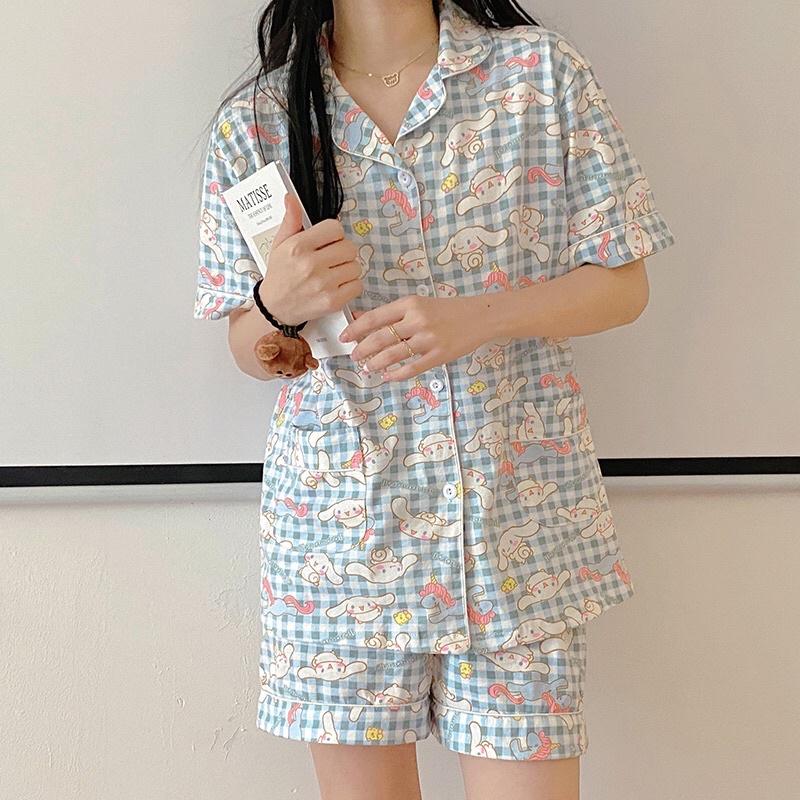 Set đồ ngủ Pyjama caro hoạ tiết Cinnamoroll