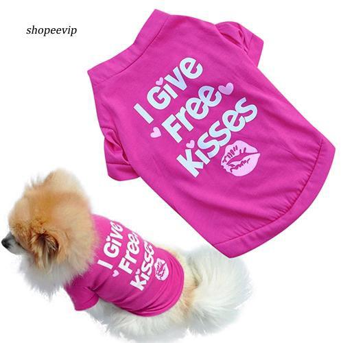 SPVP_Rose-red Lip Pet Dog T-shirt Small Cat Puppy Spring Summer Shirt Vest Clothes