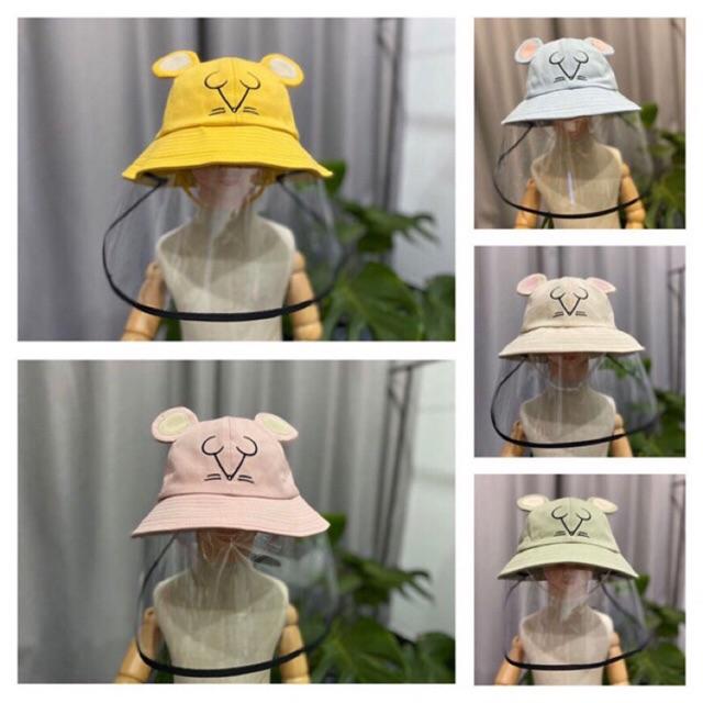 ( hàng đẹp-chất xịn) Mũ vải cho bé có tấm chắn, chống dịch, chống nắng bụi