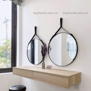 [BAYHOME] Gương tròn bàn trang điểm viền da D50