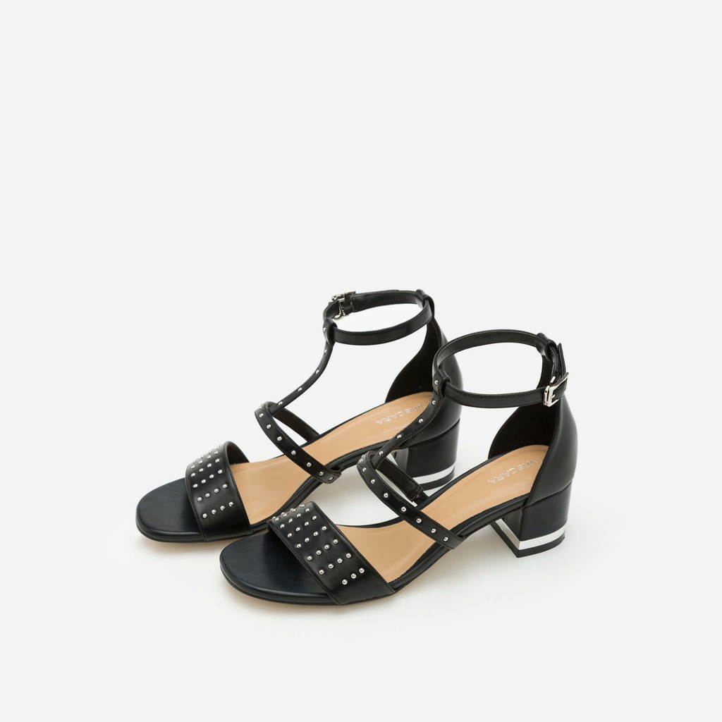 Vascara - Giày Sandal Gót Vuông Phối Đinh Tán - Màu Đen - SDN 0604