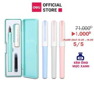 Hộp bút máy kèm ống mực xanh cao cấp Deli - màu macaron - A932
