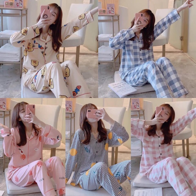 13️⃣9️⃣/1bo MUA 2 BỘ CÒN 1️⃣3️⃣3️⃣/bo Bộ ngủ dài tay Pijama basic (giá gồm 2% phí )