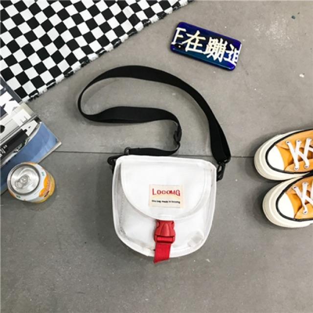 Túi xách tote vải canvas đeo chéo đi học LOGOMG