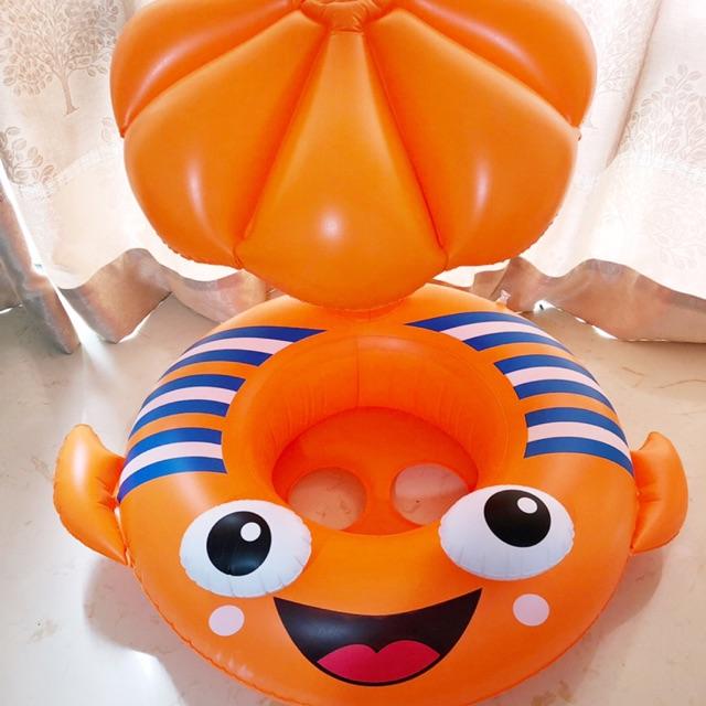 (Sẵn) Phao bơi, phao che nắng xỏ chân hình cá cam, hình ếch xanh, hình ô dù cho bé
