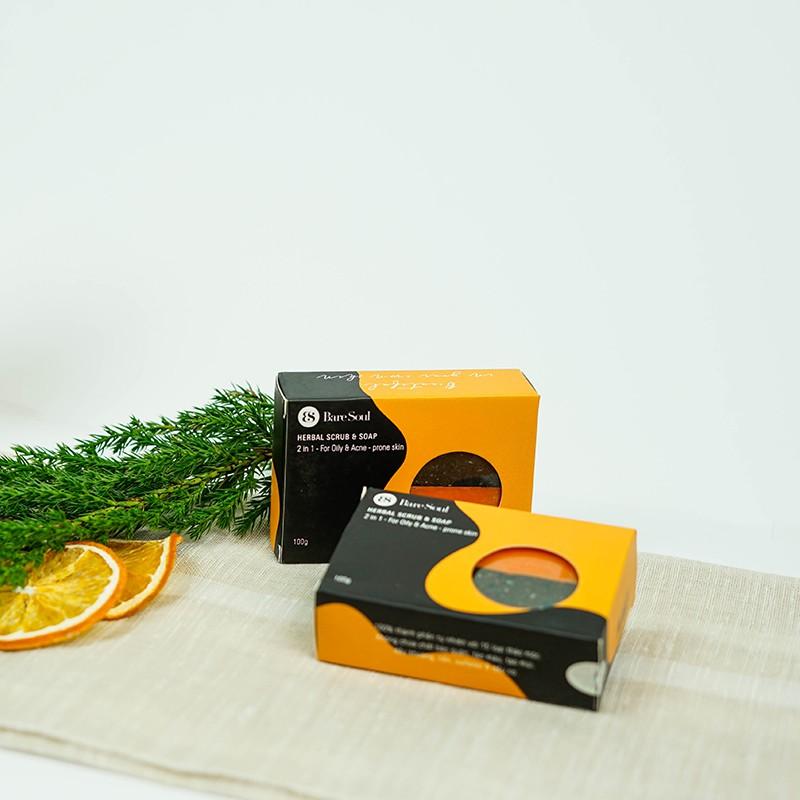 Combo 2 Bánh xà phòng giảm mụn và thâm cơ thể BareSoul Herbal Scrub & Soap  100g/hộp | Shopee Việt Nam