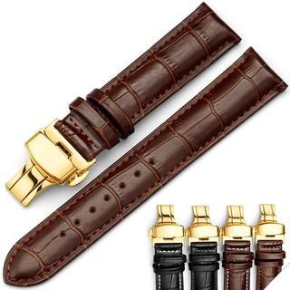 Dây da bê khóa bướm vàng hai nút bấm 18mm 20mm 22mm 24mm - Mã số D1701