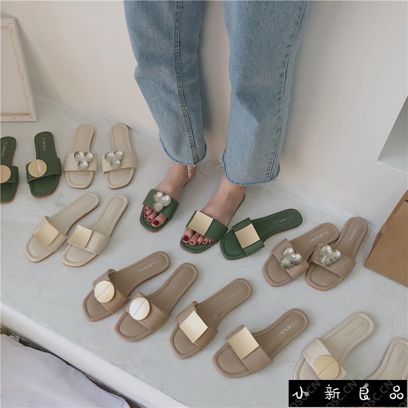 ❤️ Spot ❤️ Fang buckle half slippers female summer 2018 new