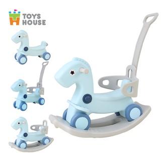 Ngựa bập bênh kiêm xe đẩy bé đi chơi - xe chòi chân hình ngựa - 3 trong 1 Toyshouse - TH520-RH02