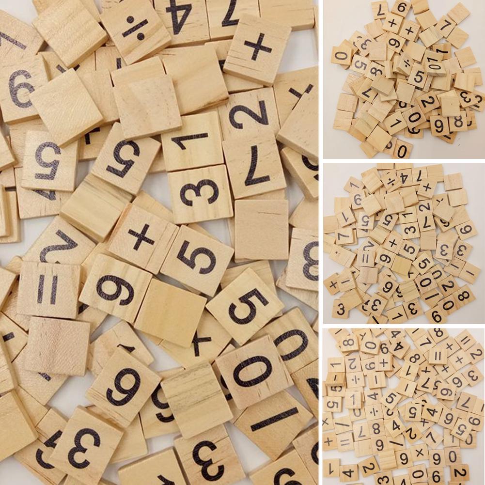 100PC Wooden Alphabet Black Capital/Lowercase Letters For Scrabble Children Toy