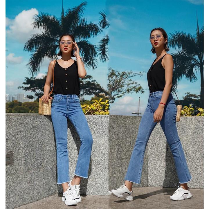 Quần jean nữ lưng cao jean ống loe siêu hot