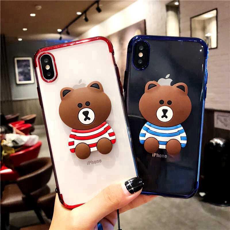 Ốp điện thoại Xiaomi Pocophone F1 Mi Play 9 8 SE Youth Lite 8x 6 A1 A2 5X 6X Max Mix 3 2s 2 hình gấu nâu 3D xinh xắn