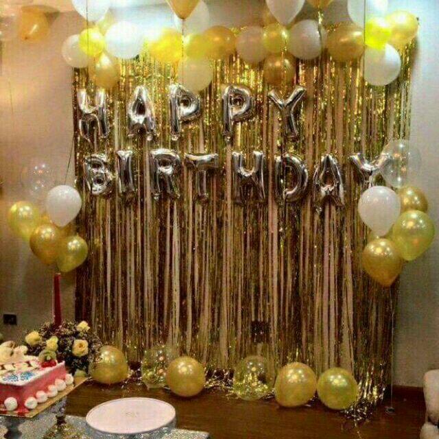 Sét bóng sinh nhật như hình-Rèm tua rua kim tuyến-bóng nhũ- bóng chữ happybirthday bar