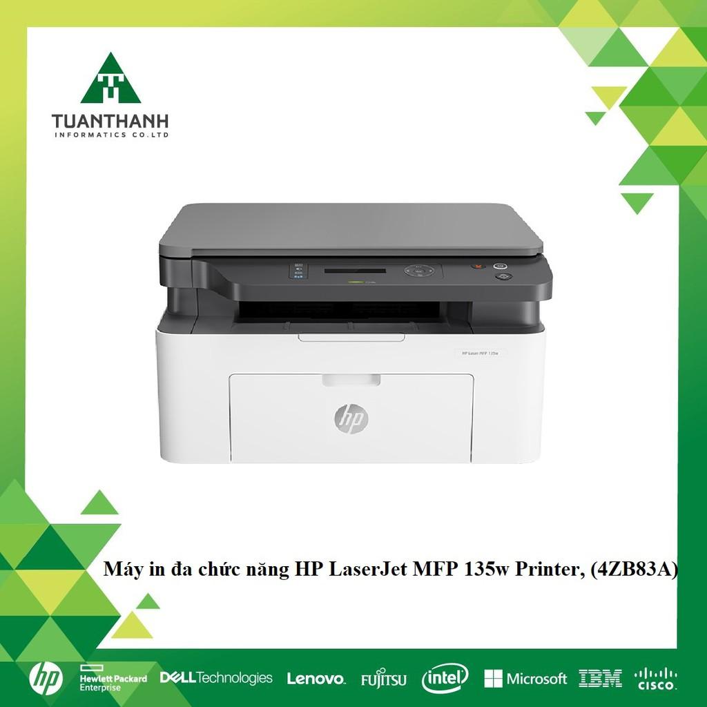 Máy in đa chức năng HP LaserJet MFP 135w Printer, 1Y WTY (In, Scan, Copy, Wifi, Trắng) 4ZB83A) - Hàng Chính Hãng
