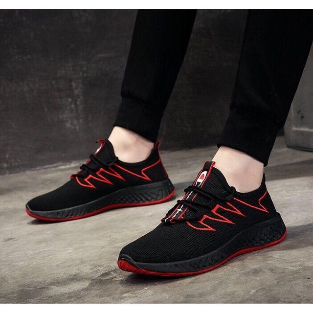 Giày thể thao nam màu đen viền đỏ (Full Bux -Hàng Cao Cấp -Giá Rẻ -Đẹp -Trợ Giá Ship)