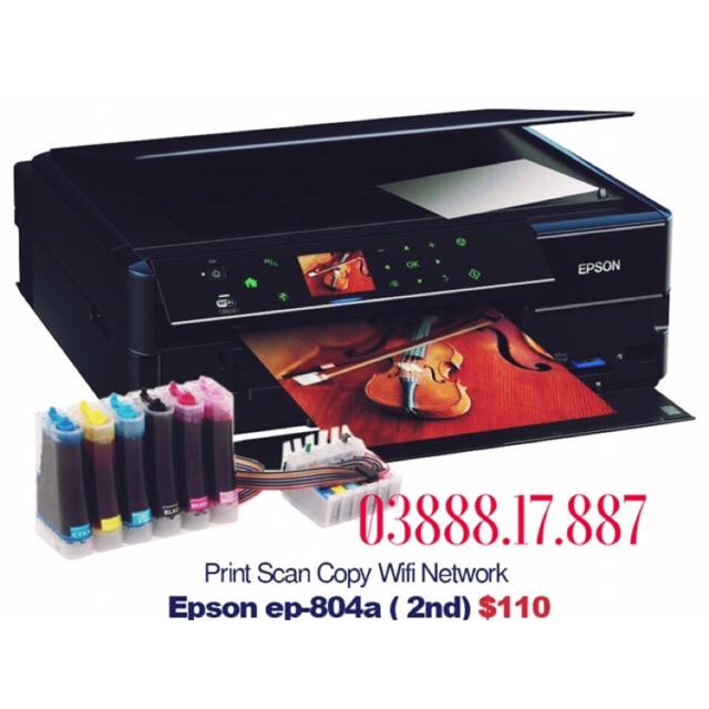 Máy in Epson 804a - 6 màu in mực dầu siêu mịn - 600ml mực dầu Pigment UV- tặng sấp giấy in ảnh A4